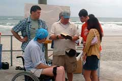 sharing the scriptures on the boardwalk